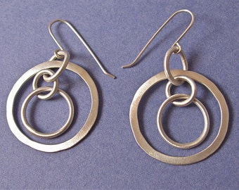 3-D sterling silver chain dangle drop earrings
