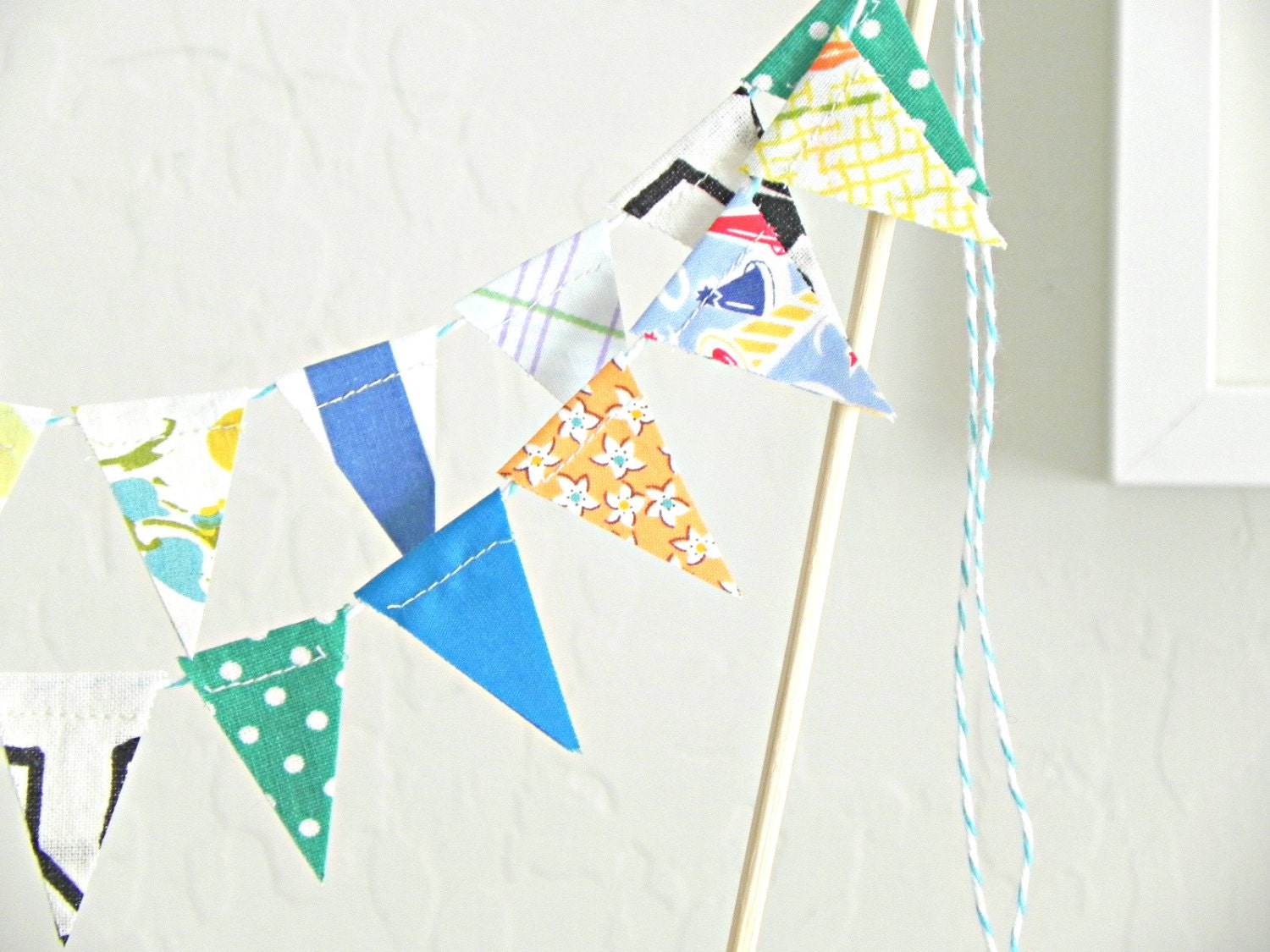 Blue Loden Fabric Bunting Cake Topper Decoration / by ...