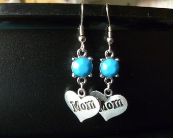 Mother's Day Earrings Dangle Heart Sky Blue Beads Silver Ready to Ship