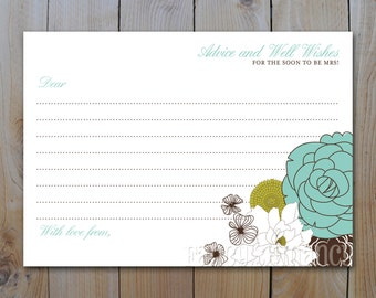 Bridal Shower Advice Card /Blue and Green Retro Floral / Instant Download / PRINTABLE /  6412