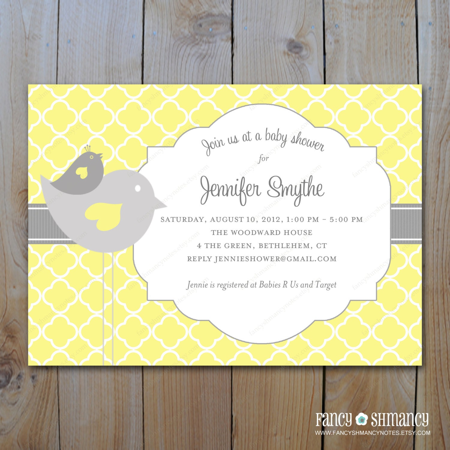 baby shower invitation grey and yellow by fancyshmancynotes