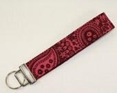 Burgandy & Pink Paisley print fabric key fob or camera strap