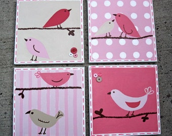 4-pc set Bird Canvas Art for girls room or nursery