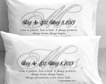 Mr and Mrs Bible Quote  Pillow Cases 1 Corinthians 13 Love    Wedding Anniversary Engagementgift idea for couples