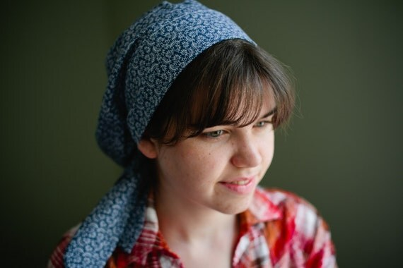 Snood    Blue Floral Snood - Hair Prayer Covering Veil Hair Snood Headcovering Head Cover Tichel   Snood  Headcovering Head Cover Tichel