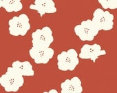 Organic Cotton Canvas- Birch -Poppies- paprika- Check Out These Shipping Rates
