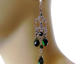 Earrings Neo-Victorian Metals Silver and Emerald crystal earrings Now On Sale!