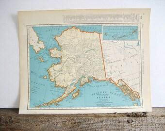 Maps Alaska and Wyoming 2 Sides 1940 Original
