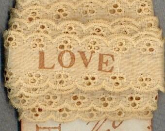 LOVE eyelet doll ribbon vintage paris tag tea dyed hand stamped craft  r770 . ....oohlala
