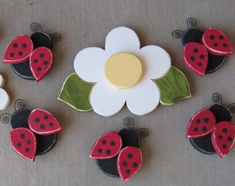 Pine FLOWERS and LADY BUGS for home decor, girls room decor, and  wall decor.