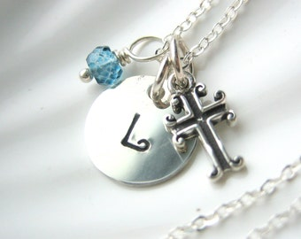 Initial, Cross & Birthstone Necklace - Confirmation Gift -  Hand Stamped Charm - Sterling Silver - Personalized