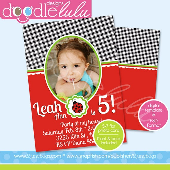 ... / Gingham Lady Bug Birthday Invitation Card Template (Photoshop) PSD