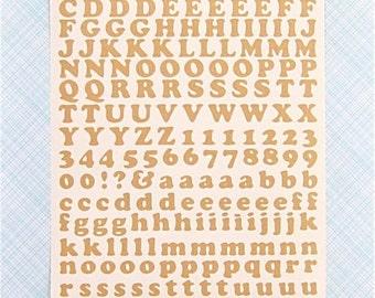 KRAFT brown paper self adhesive Alphabet & Number Stickers