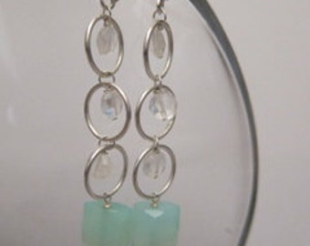 moonstone and chalcedony hooped earrings