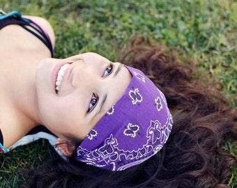 Purple Headscarf Hair Scarf Head Wraps for Women Purple Hair Bandana Running Headband Hair Accessories Purple Headscarves (#4011) S M L X