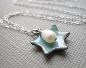 Dusk Blue Jewish Star of David Necklace Enamel White Pearl Sterling Silver
