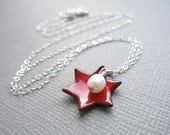 Red Enamel Jewish Star of David Necklace White Pearl Sterling Silver