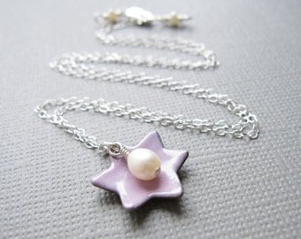 Pink Jewish Star of David Necklace Enamel White Pearl Sterling Silver