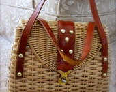 SALE Vintage Retro Woven Basket Purse Handbag Straw Made in British Hong Kong Leather Handles