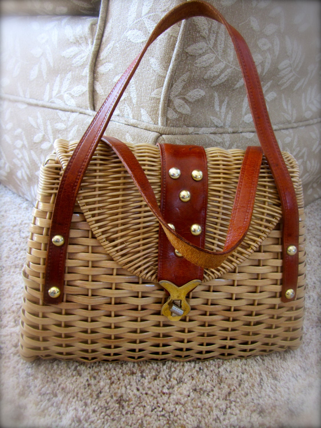 Sale Vintage Retro Woven Basket Purse Handbag Straw Made In