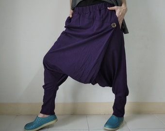 Women Men Pants - Drop Crotch Dark Purple Stretch Cotton Pants With 2 Side Pockets And Elastic Waist Band