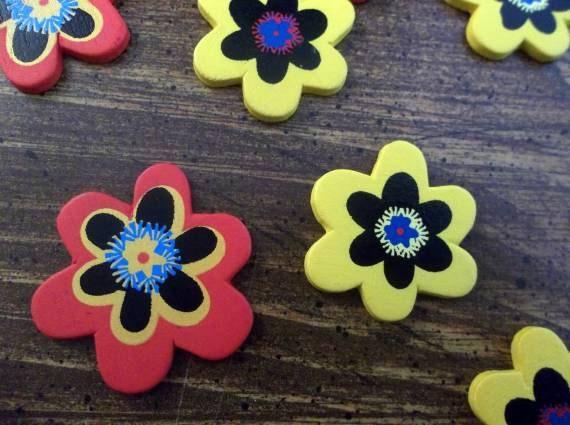 Flower Embellishments - Wood Embellishments - Red Embellishments - Yellow Embellishments - set of 18