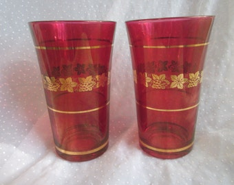 2 Vintage Ruby Red and Gold with Grape Design Tumblers