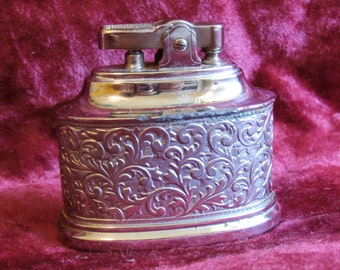 Vintage Teeco Table Lighter Ornate Silver Toned Metal