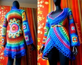 SOLD OUT - Crochet Coat - Aztec Sun Mandala And Granny Squares - RESERVED For Miss M