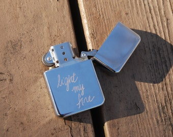 Personalized Silver Refillable Metal Lighter with Free Custom Engraving