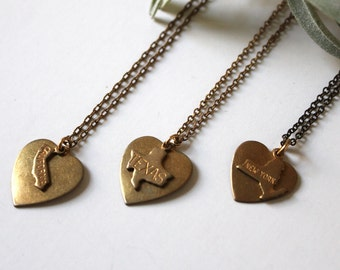 Pick your own State and Wear it with your Heart...all 50 states available, with custom engraving for no charge