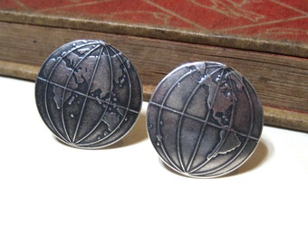 Globe Cufflinks - World - Earth - Globe Trotter - Traveler - Traveling - Antiqued Silver / Silver Ox Cuff Links - Soldered