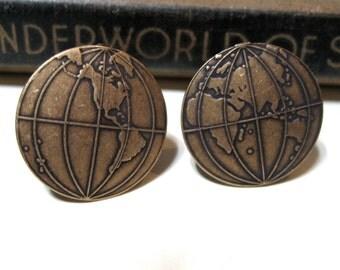 Globe Cufflinks - World - Earth - Globe Trotter - Traveler - Traveling - Antiqued Brass / Brass Ox Cuff Links - Soldered