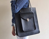 Pamela Oversized Black Leather Tote bag (handmade to order)