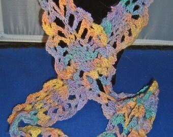 Hand-Crocheted Handspun Merino Wool Pineapple Moebius Scarf