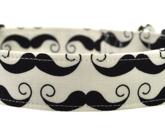 The Mustache in Black and White - Dog Collar