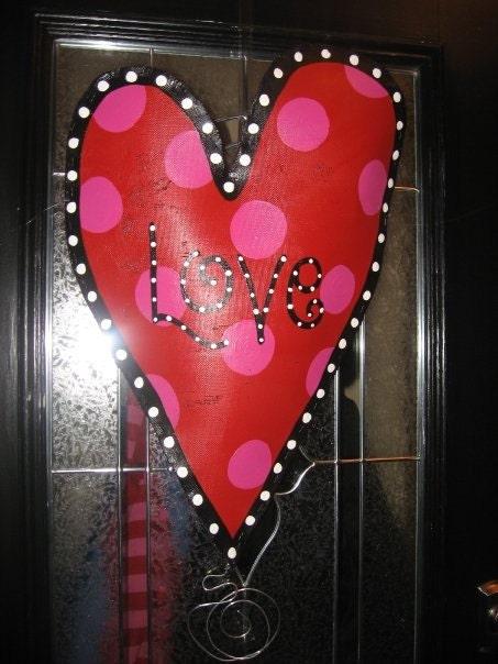 Large Oblong Heart Door Hanger
