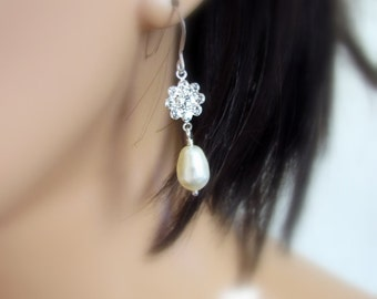 Crystal Flower Earrings, White Pearl Earrings, Teardrop Pearl Earrings, Bridesmaid, Swarovski Crystal, Sparkling Wedding Jewelry