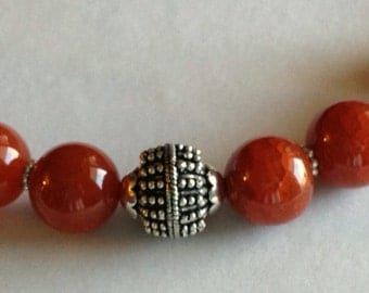 Red Cracked Fire Agate and Bali Style Bead with Chain Necklace