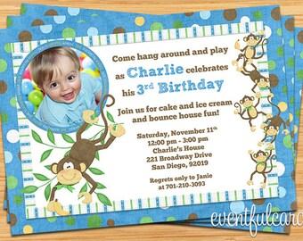 Cute Monkey Banana Birthday Party Invitation