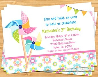 Pinwheel Birthday Party Invitation