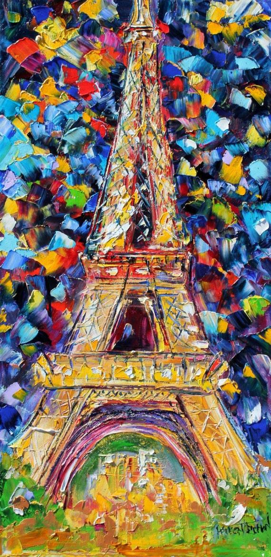Paris Eiffel Tower oil on canvas Landscape by Karensfineart  Eiffel Tower Painting Landscape