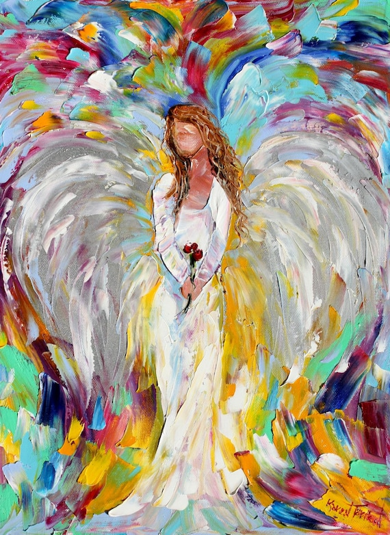 Original angel flowers palette knife oil painting abstract for Angel paintings for sale