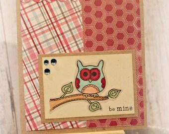 Valentine Card Owl Be Mine Handmade