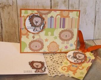 Birthday Card and Tag Set  Lion Circus Zoo Handmade Gift Set