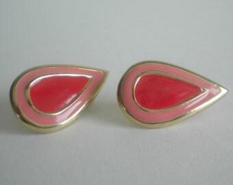 Vintage Pink and Red Teardrop Clip On Earrings