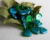 Leaf Glass Beads, Czech Glass Beads, Glass Heart Leaf Beads, Transparent Emerald & AB 9mm (30pcs)