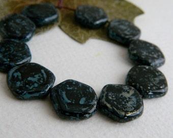 Czech Picasso Beads, Czech Glass Beads, Irregular Coin Beads, 15mm Opaque Jet with Speckled  Denim/Bronze Picasso (15pcs) NEW