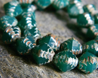 Picasso Czech Glass Beads, Fire Polished Faceted Bicones, Textured Bicone Beads, 8mm, Alabaster Sea Green & Metallic Picasso (12pcs)