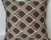 Decorative Ikat Pillow Cover 18 x 18 inches,  Ikat Throw Pillow - Accent Pillow, Brown, Gray and Ivory, FREE SHIPPING Canada and US